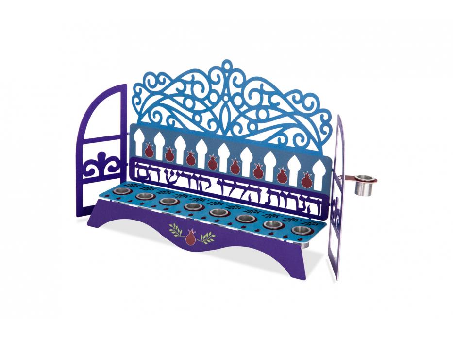 Dorit Judaica Hanukkah Candles Menorah Blue Laser Window Cutout