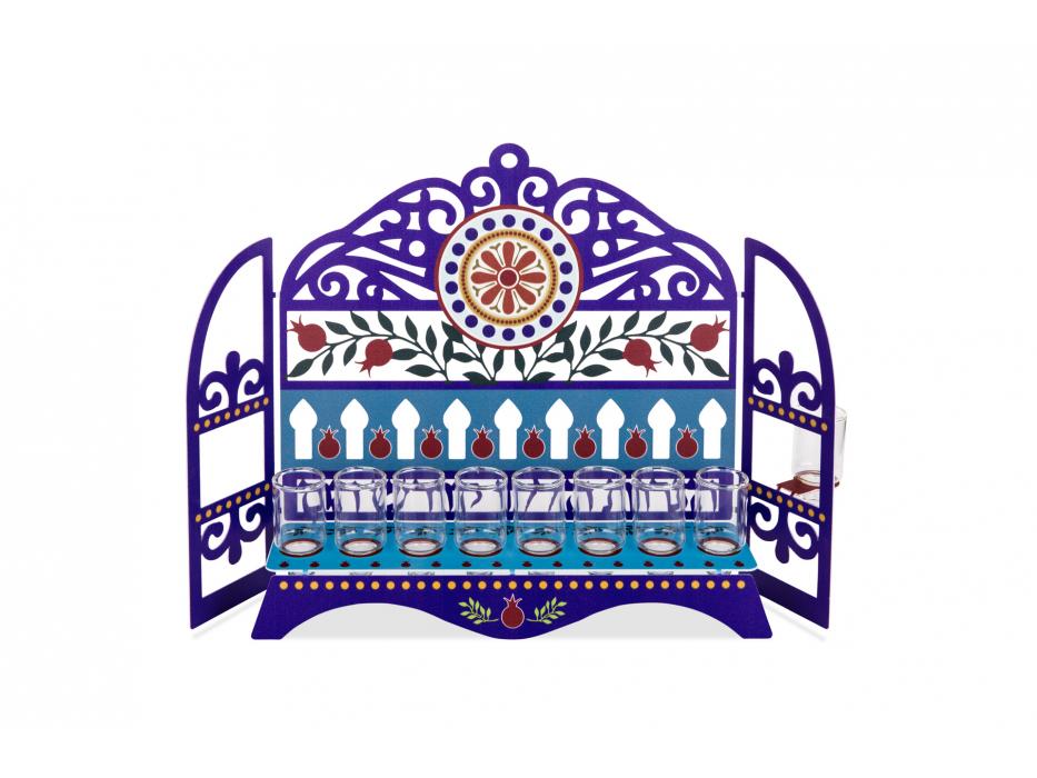 Dorit Judaica Hanukkah Oil Menorah Blue Pillars and Pomegranates Laser Cutout