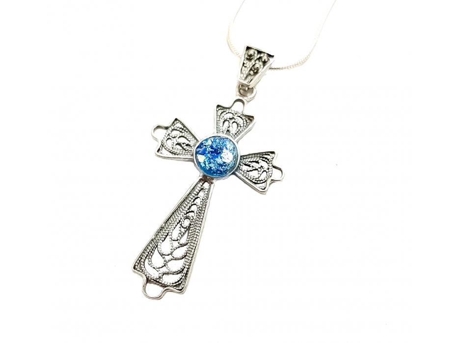 Delicate Filigree Cross Silver and Roman Glass