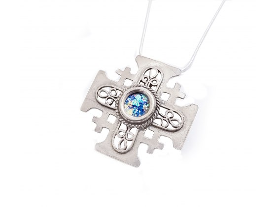 Filigree Style Jerusalem cross Silver and Roman Glass