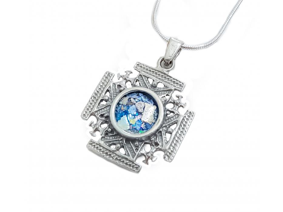 Silver and Roman Glass Jerusalem cross