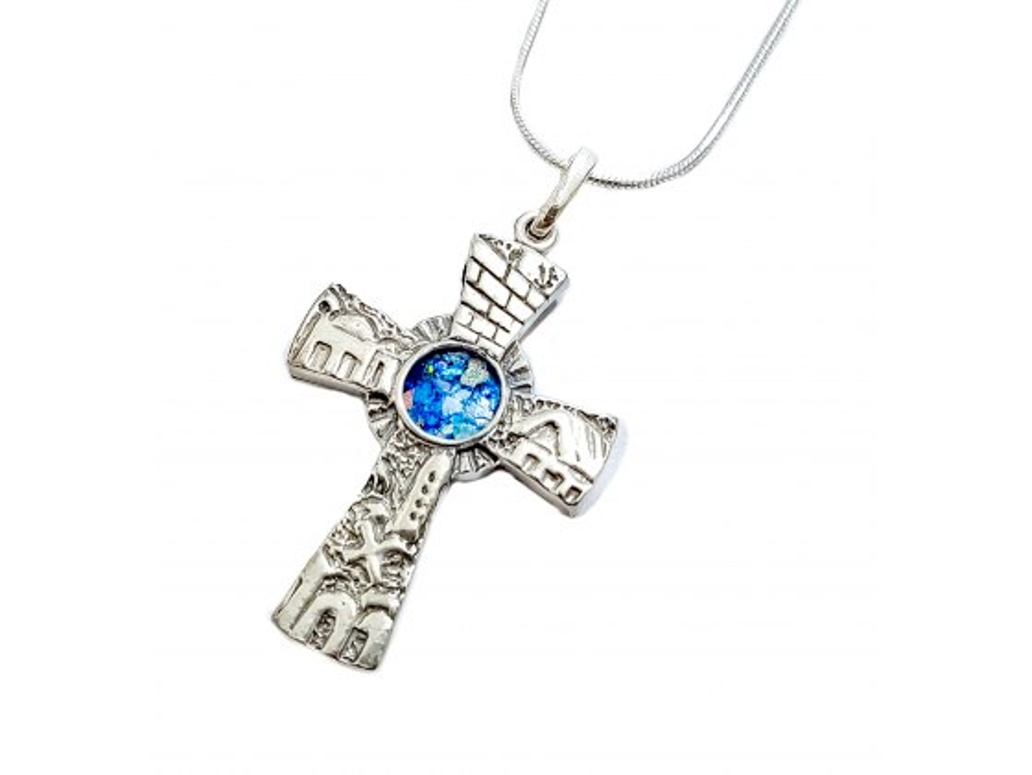 Silver Jerusalem 3D Cross with Roman Glass