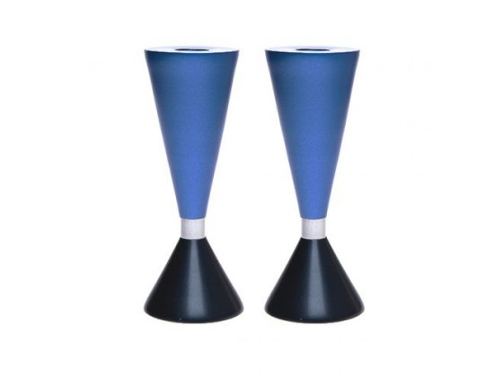 Yair Emanuel Blue Tapered Two Sided Shabbat Candlesticks With Ring