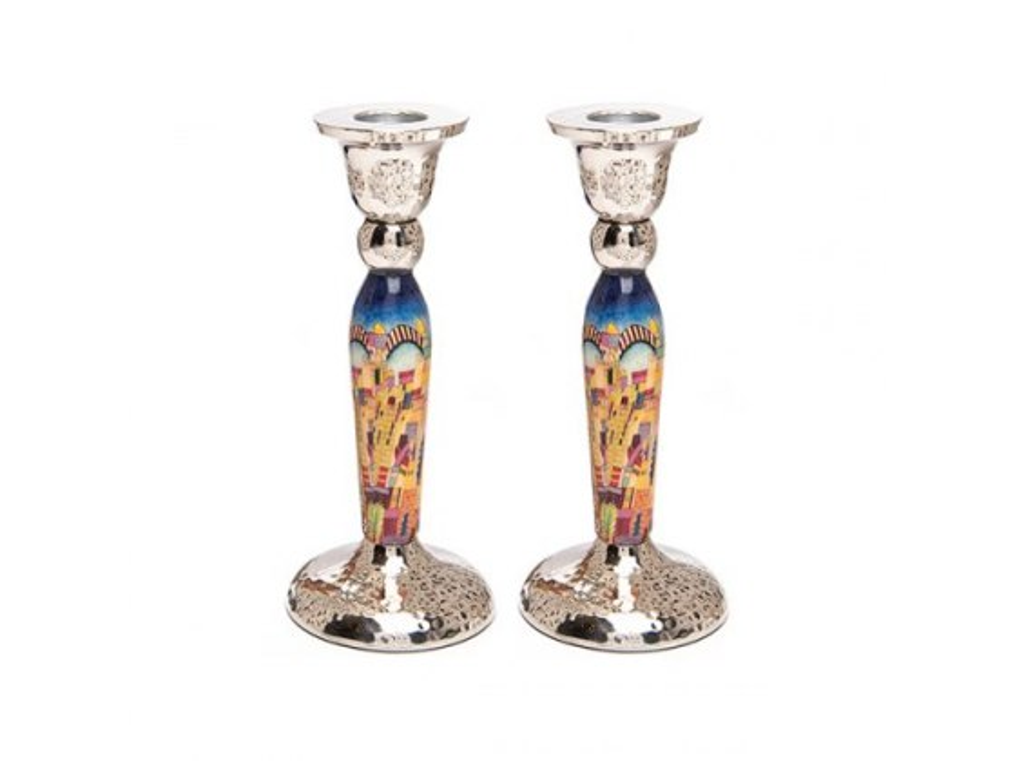 Yair Emanuel Tall Jerusalem Shabbat Candlesticks