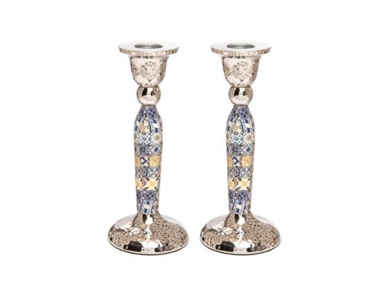 Yair Emanuel Tall Shabbat Candlesticks With Multicolor Squares