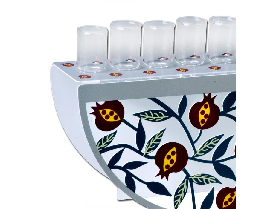 Dorit Judaica Hanukkah Oil Menorah Pomegranate Design