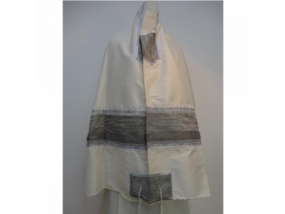 Tallit Prayer Shawl Gray Organza And Silk