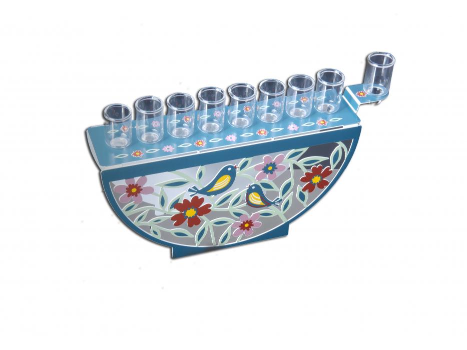 Dorit Judaica Hanukkah Oil Menorah Flowers and Birds Design