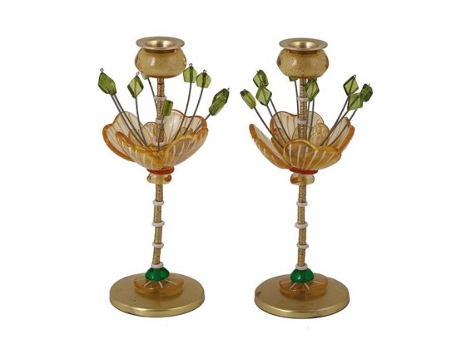 Yair Emanuel Green and Yellow Candlesticks Fountain Design