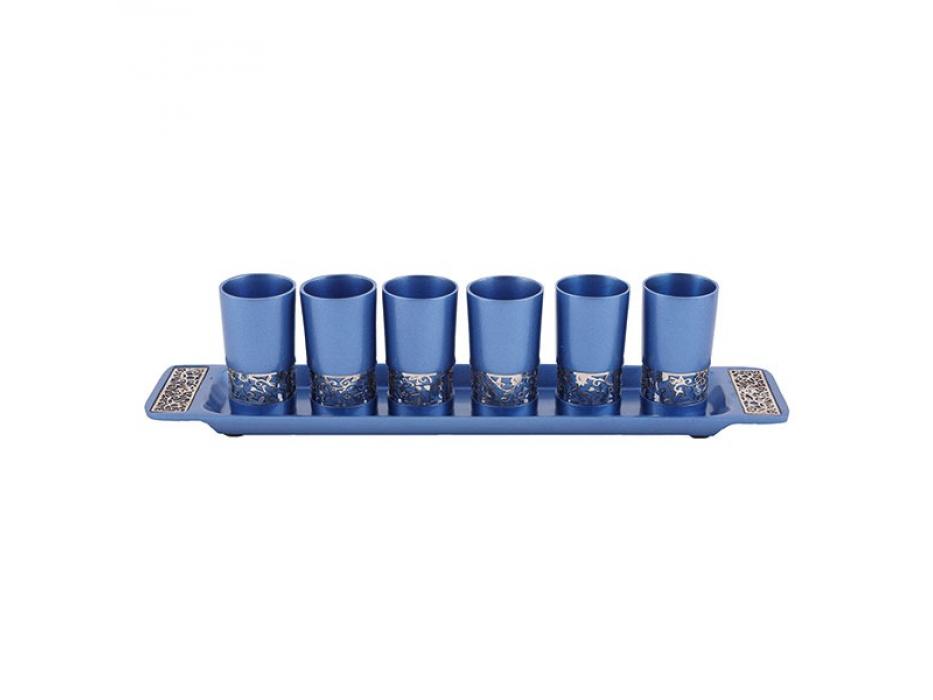 Yair Emanuel Set of Blue Aluminum Kiddush Cups with Gold Decoration
