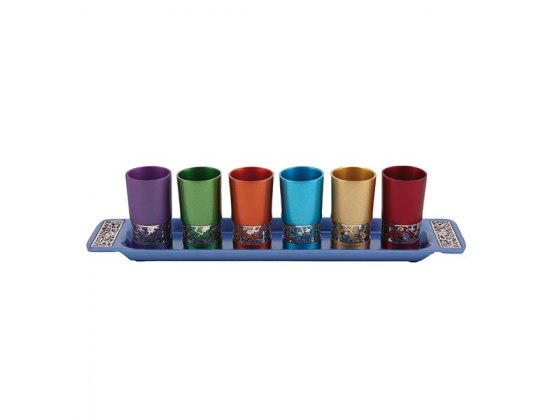 Yair Emanuel Set of Colorful Aluminum Kiddush Cups with Silver Decoration