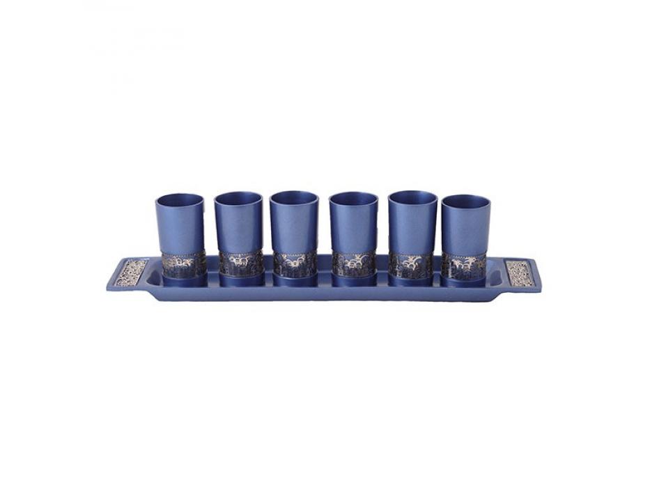 Yair Emanuel Set of Blue Aluminum Kiddush Cups with Silver Decoration
