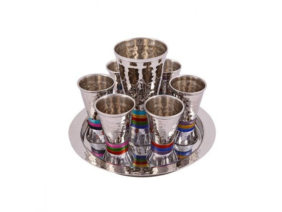 Yair Emanuel Kiddush Cup Set Hammered Texture with Colorful Base