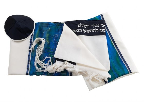 Galilee Silks Wool Tallit with Embroidered Gold Jerusalem Silk