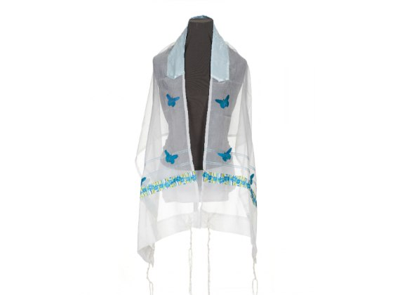 White Women's Tallit with Teal Butterfly and Flowers