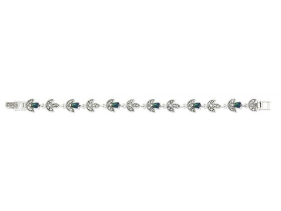 Marina Jewelry Sterling Silver Eilat Stone Marcasite Flower Bracelet