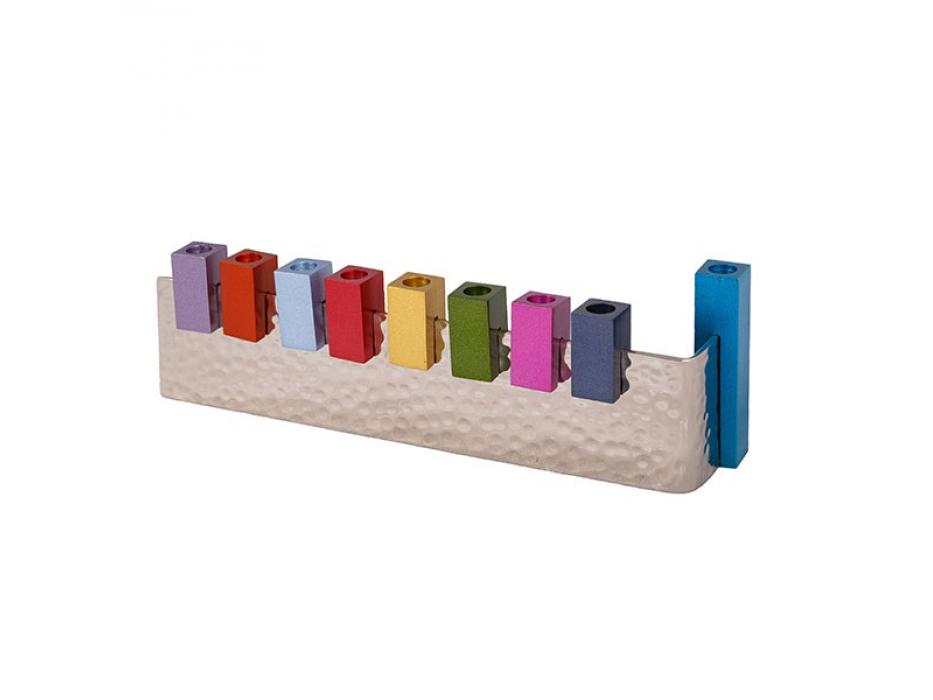 Emanuel Judaica Multicolored Aluminum L Hanukkah Menorah