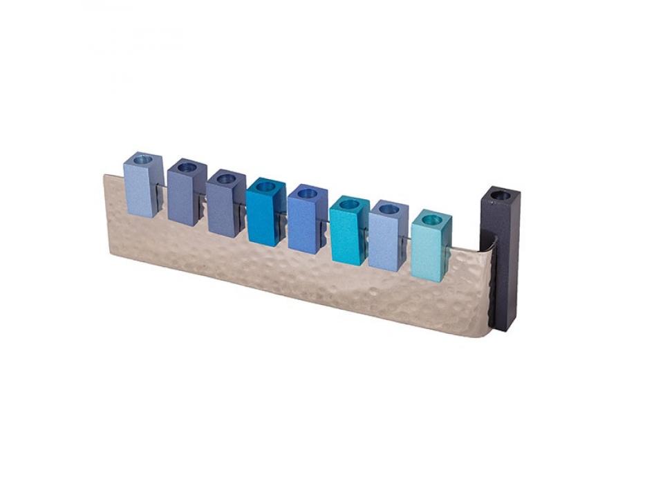 Emanuel Judaica Blue Aluminum L Hanukkah Menorah