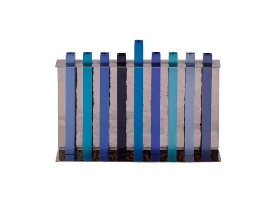 Yair Emanuel Blue Long Stems Hanukkah Menorah