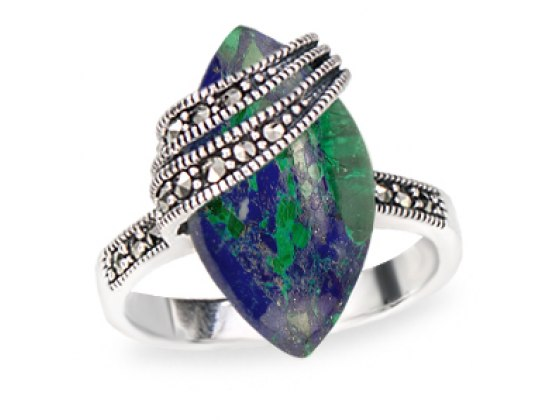 Marina Jewelry Sterling Silver Ring With Mandorla Eilat Stone And Marcasite Sash