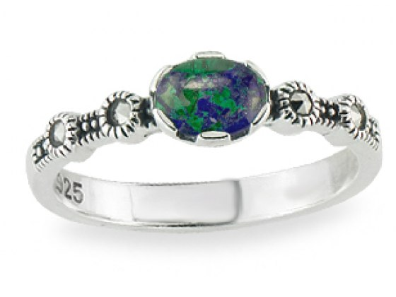 Marina Jewelry Sterling Silver Ring With Oval Eilat Stone And Marcasite Flowers