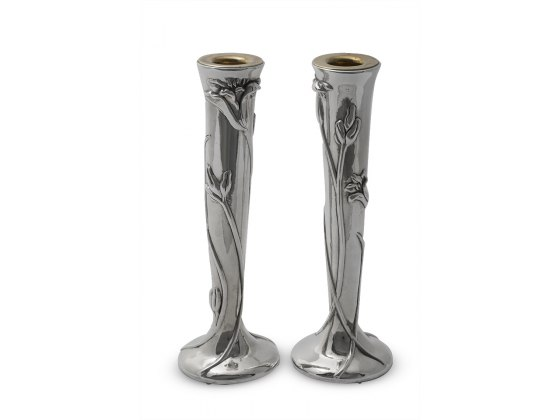 Sterling Silver Shabbat Candlesticks with Lily Flowers