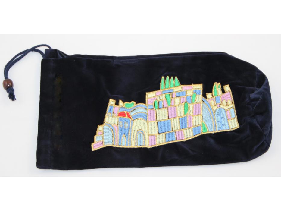 Blue Jerusalem Velvet Bag