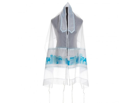 Sheer Tallit with Turquoise Jerusalem On Silk By Galilee Silks