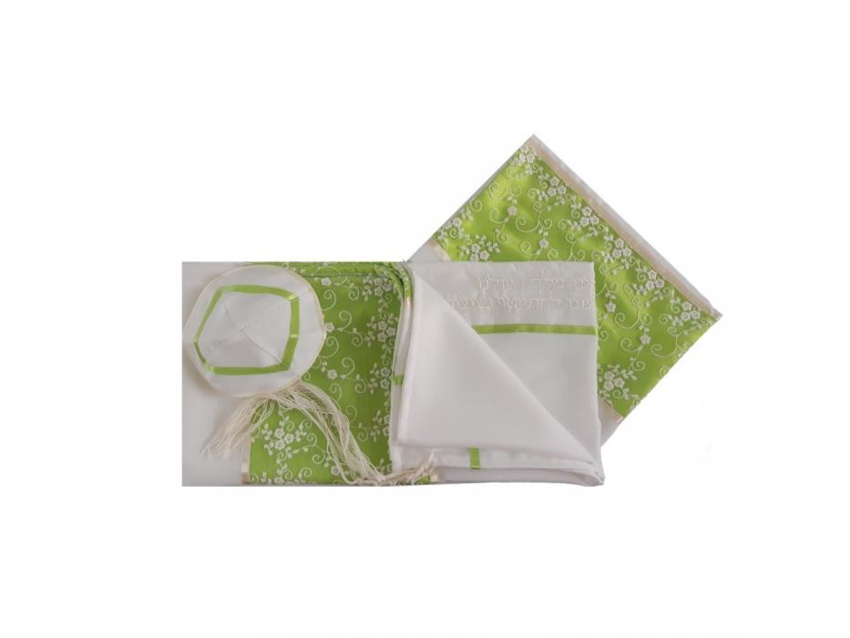 Galilee Silks White Tallit with Green Meadow Flowers Stripe