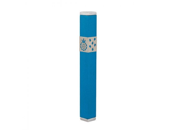 Emanuel Judaica Turquoise Stainless Steel Mezuzah Case with Pomegranates