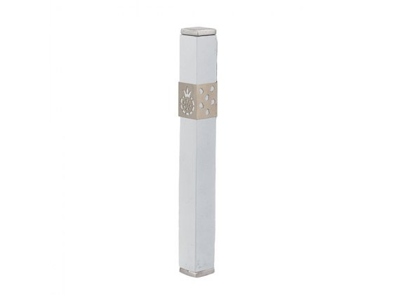 Emanuel Judaica White Stainless Steel Mezuzah Case with Pomegranates