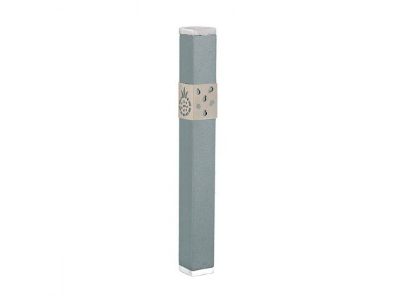 Emanuel Judaica Light Grey Stainless Steel Mezuzah Case with Pomegranates