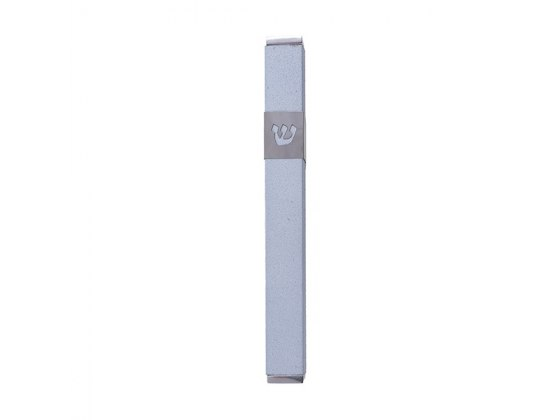 Emanuel Judaica Light Blue Stainless Steel Mezuzah Case with Shin