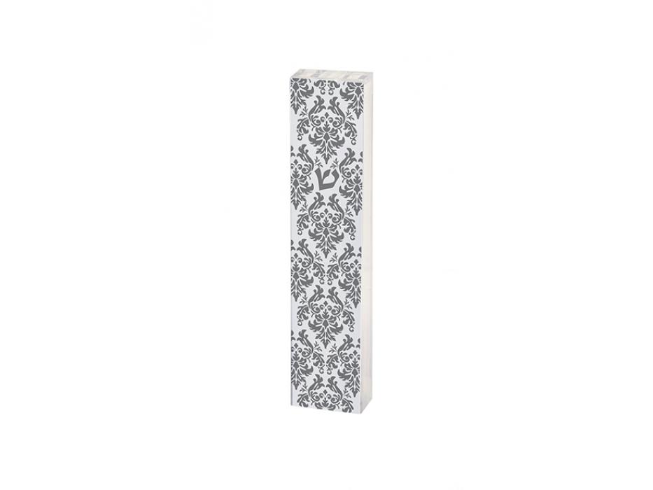 Acrylic White Mezuzah with Grey Lace Pattern by Dorit Judaica