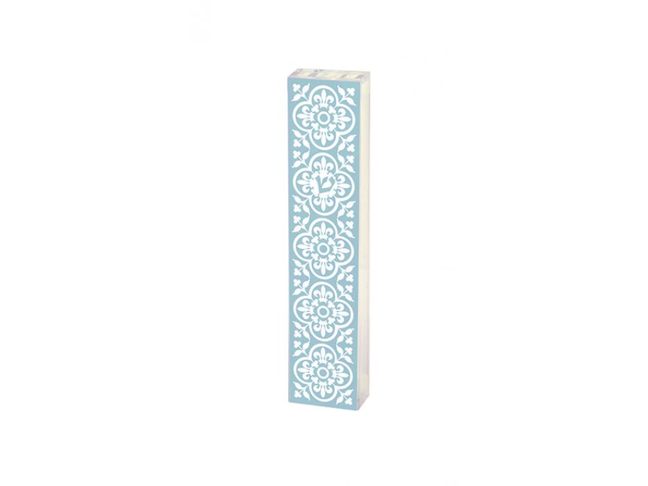 Acrylic Mezuzah Light Blue Spanish Tiles Pattern by Dorit Judaica