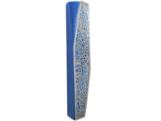 Blue Mezuzah with Diagonal Cutout Pomegranates