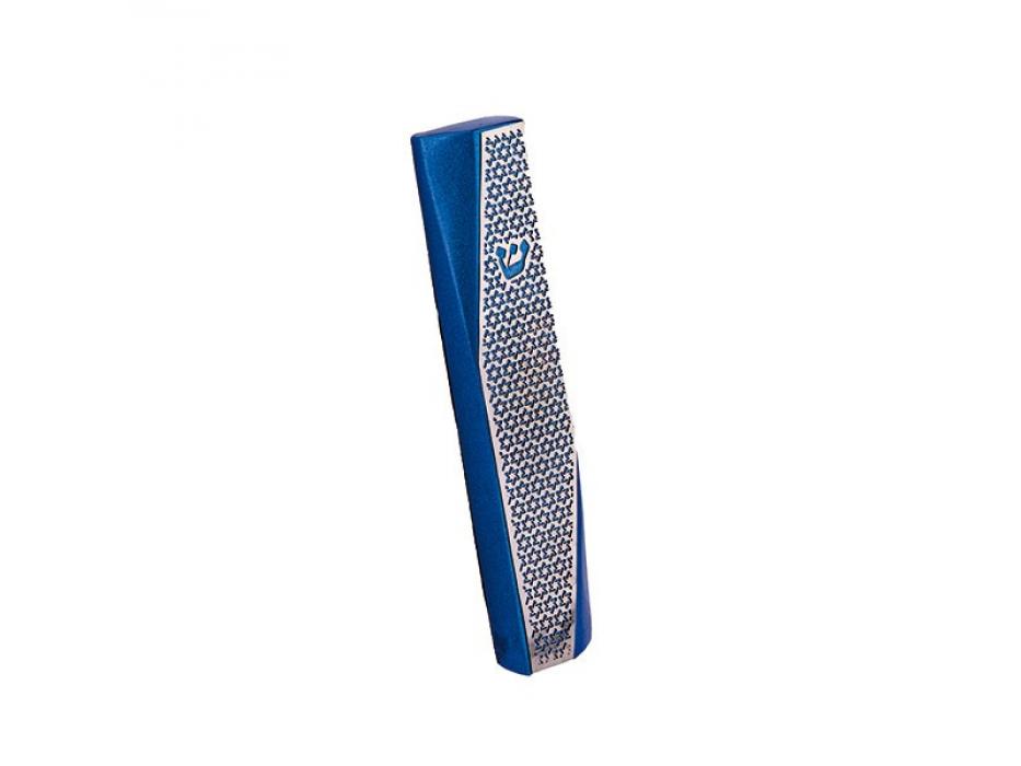 Blue Mezuzah with Diagonal Cutout Star of David