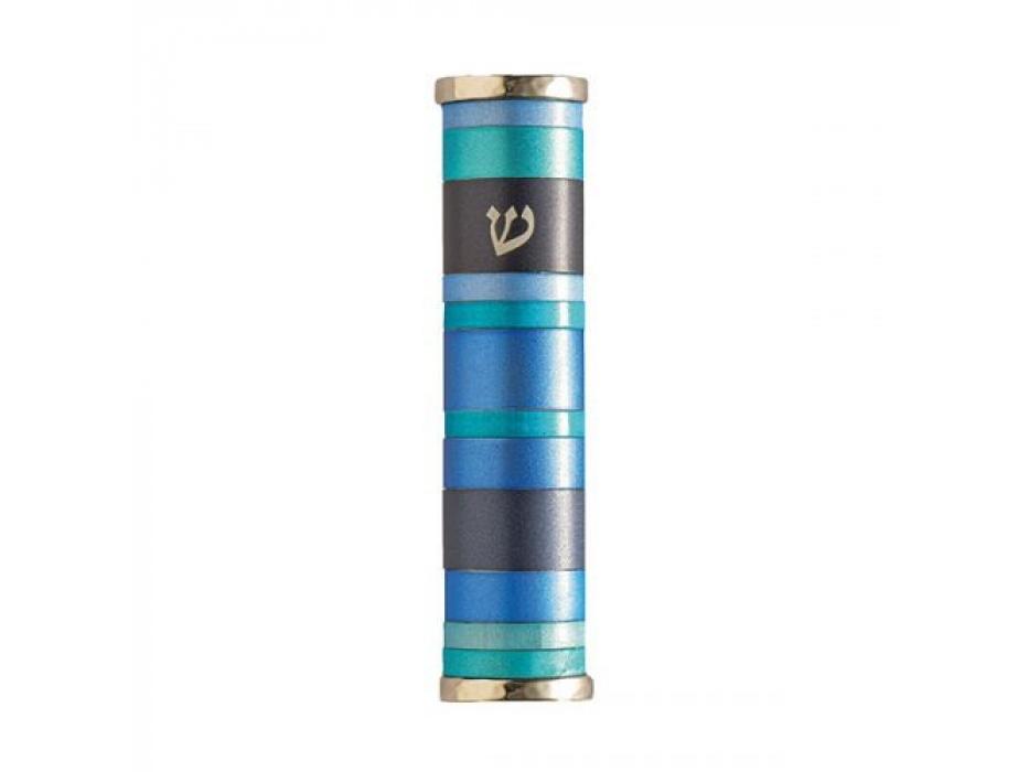 Emanuel Judaica Blue Aluminum Rings Mezuzah Case with Shin