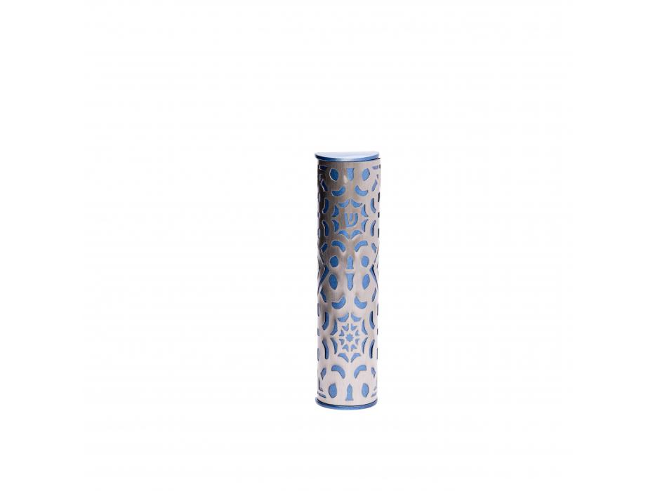 Emanuel Judaica Mezuzah Cutout Star of David Pattern Blue