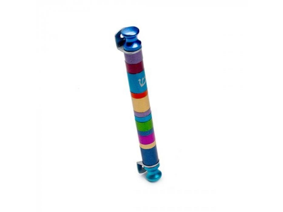 Emanuel Judaica Aluminum Cylinder Mezuzah With Multicolor Stripes