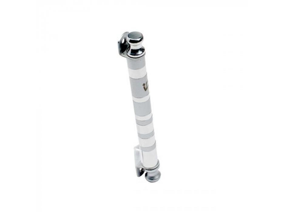 Emanuel Judaica Aluminum Cylinder Mezuzah With Silver Stripes