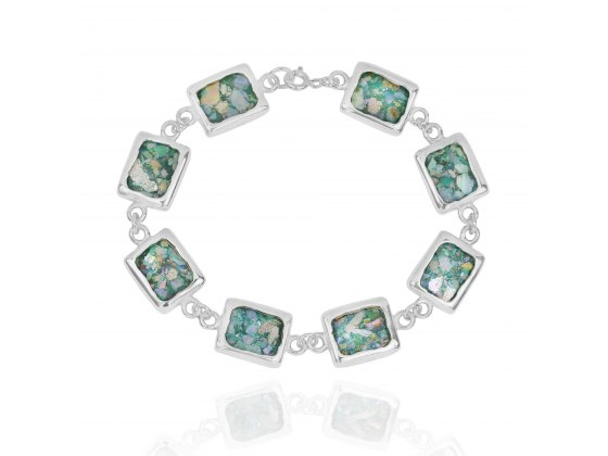 Silver Bracelet with 8 Rectangular Roman Glass