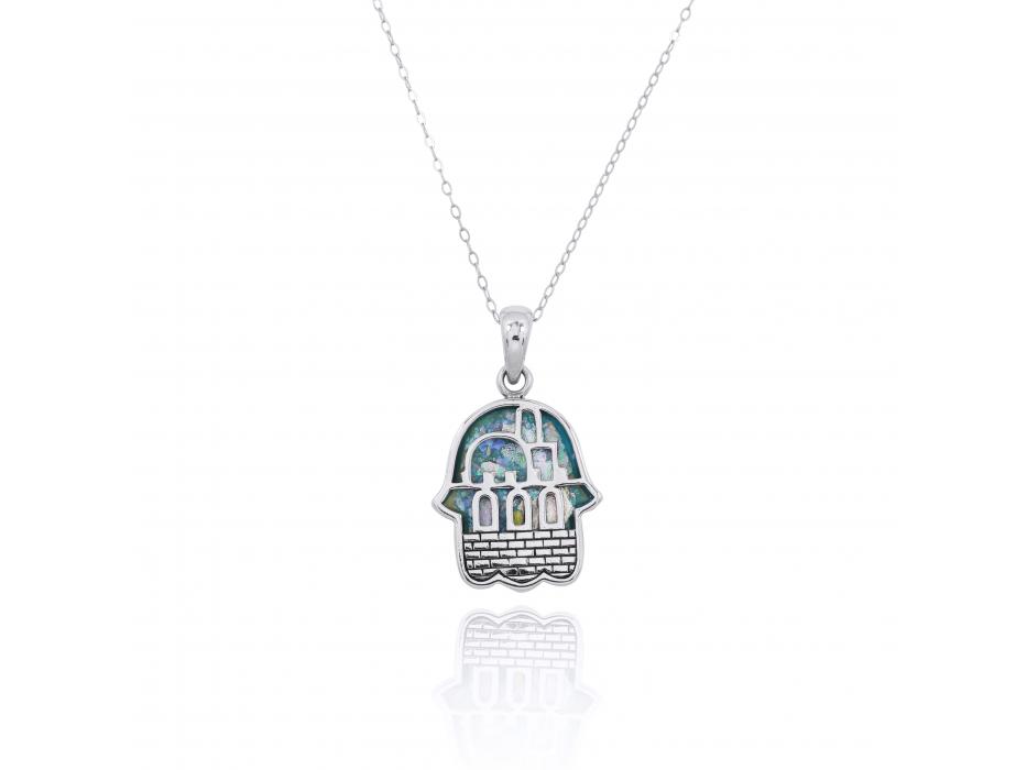 Silver Jerusalem Hamsa Pendant with Roman Glass