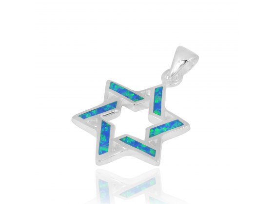 Silver Modern Star of David Pendant with Opal