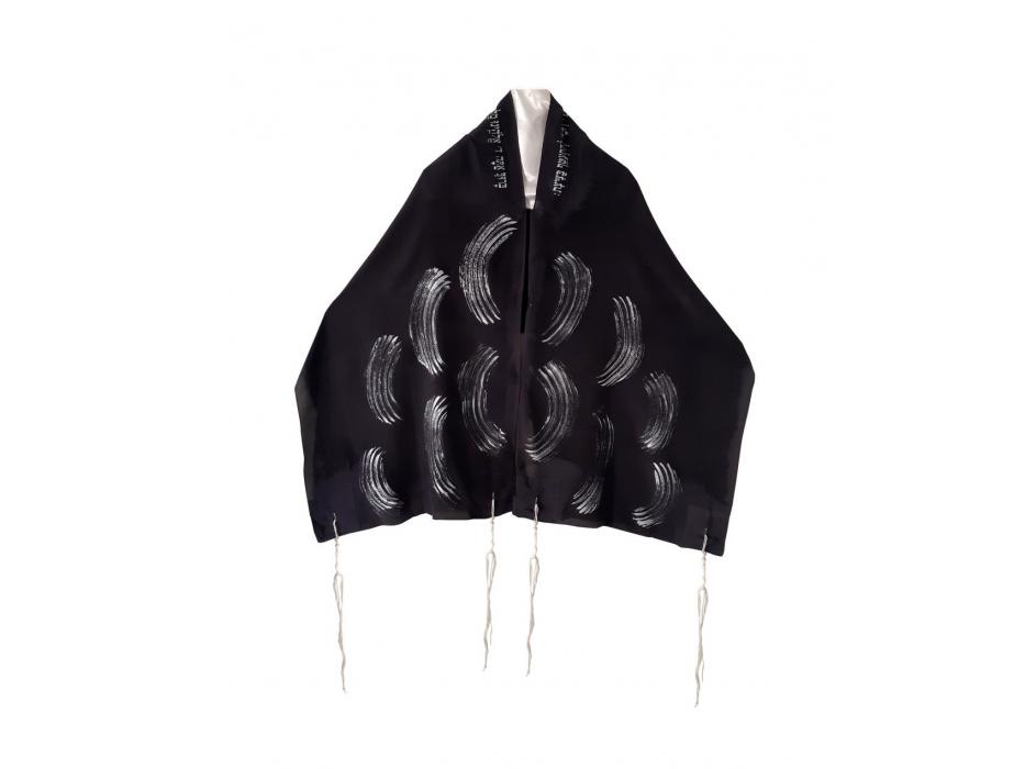 Galilee Silks Black Silk Women's Tallit with Hand Painted Silver Waves
