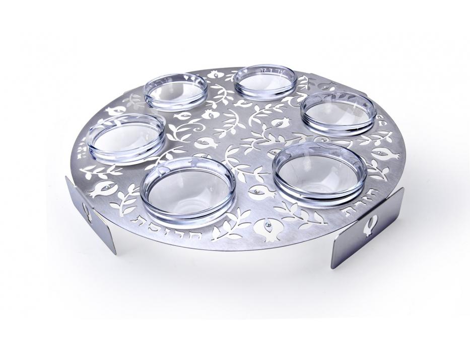 Stainless Steel Pomegranates Round Seder Plate by Dorit Judaica