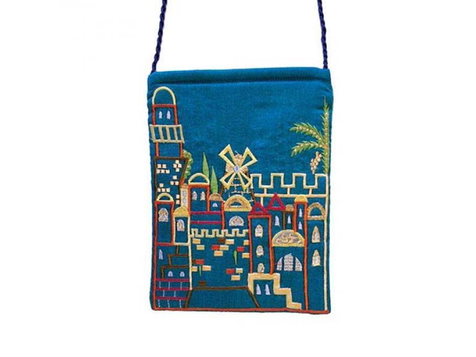 Yair Emanuel Blue Bag with Embroidered Jerusalem