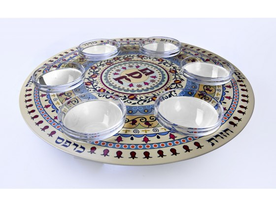 Flowers and Pomegranates Glass Seder Plate by Dorit Judaica