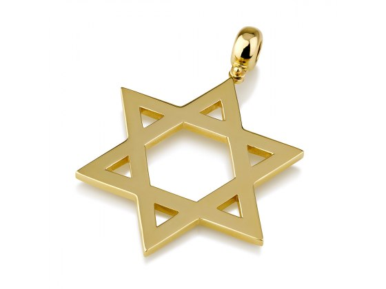 14K Gold Large Classic Star of David Necklace