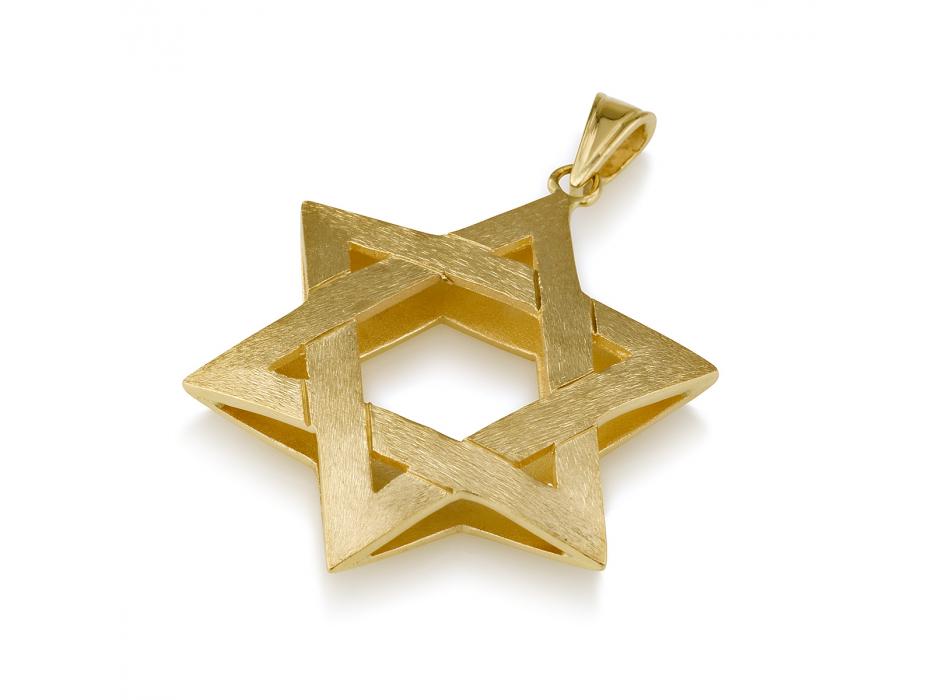 14K Bruched Gold Star of David Necklace Interwoven 3D Design